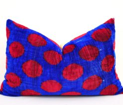 Red Polka Dot Blue Ikat Velvet Pillow, Blue and red dots ikat cushion