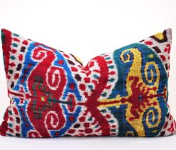 bakhmal pillow case, Handwoven Accent Throw Colorful Velvet Pillow