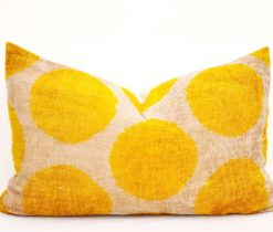 yellow dots ikat pillow velvet