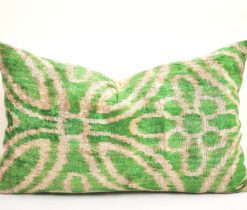 lime green velvet pillow, Green Accent Throw Velvet Ikat Pillow