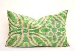 lime green velvet pillow