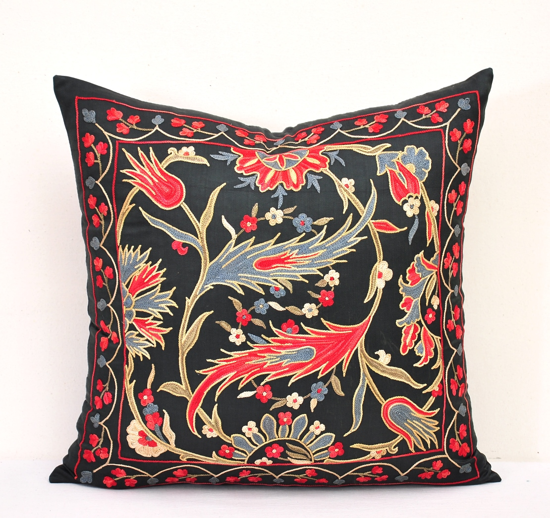 Incredible Uzbek Suzani Gift Couch Pillow Caraccident5 Cool Chair Designs And Ideas Caraccident5Info
