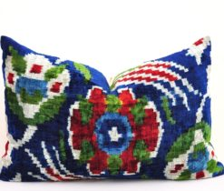 Designer Velvet Ikat Silk Pillow Cover, dark blue velvet ikat pillow