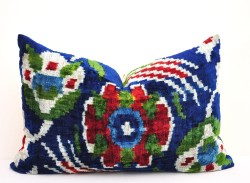 dark blue velvet ikat pillow