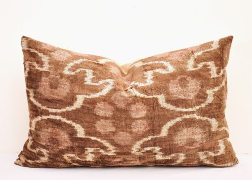 Brawn velvet pillow, Brown Designer Ikat Velvet Lumbar Pillow