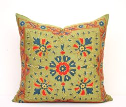 Green suzani pillow, Embroidery Needlework Ethnic Magic Designer Silk Suzani Pillow