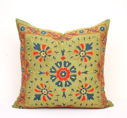 Green suzani pillow