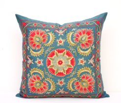 Embroidered Blue Suzani Accent Pillow, Blue suzani pillow
