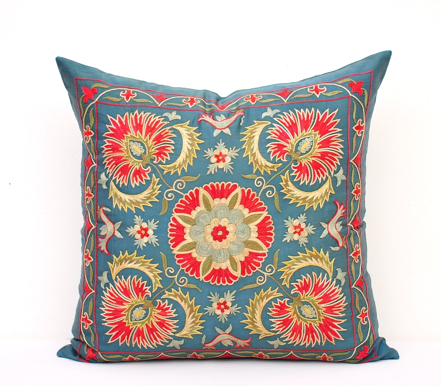 Embroidered Blue Suzani Accent Pillow Wholesale