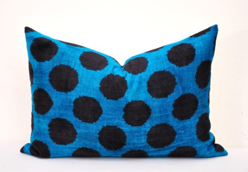 blue black dots pillow, Black Dots Blue Decorative Accent Pillow
