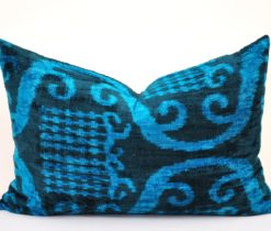 dark blue ikat pillow, Blue Euro Sham Lumbar Velvet Pillow