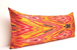 orange ikat pillow