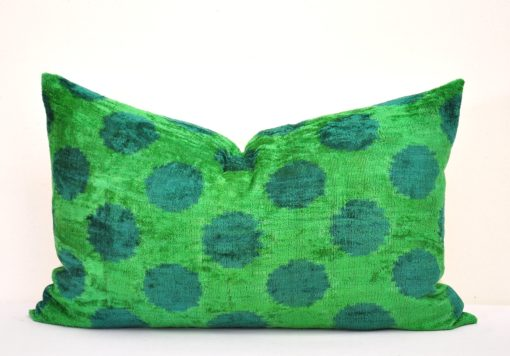 green dots pillow velvet, Velvet Polka Dot Overdyed Green Designer Pillow