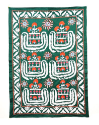 Green suzani embroidery