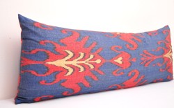 Blue ikat pillow bolster