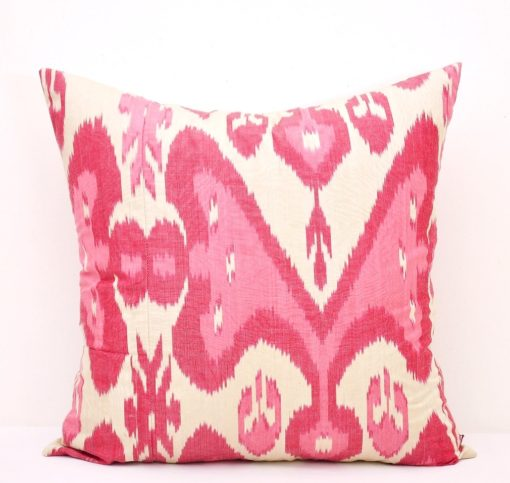 Red and white silk cotton pillow