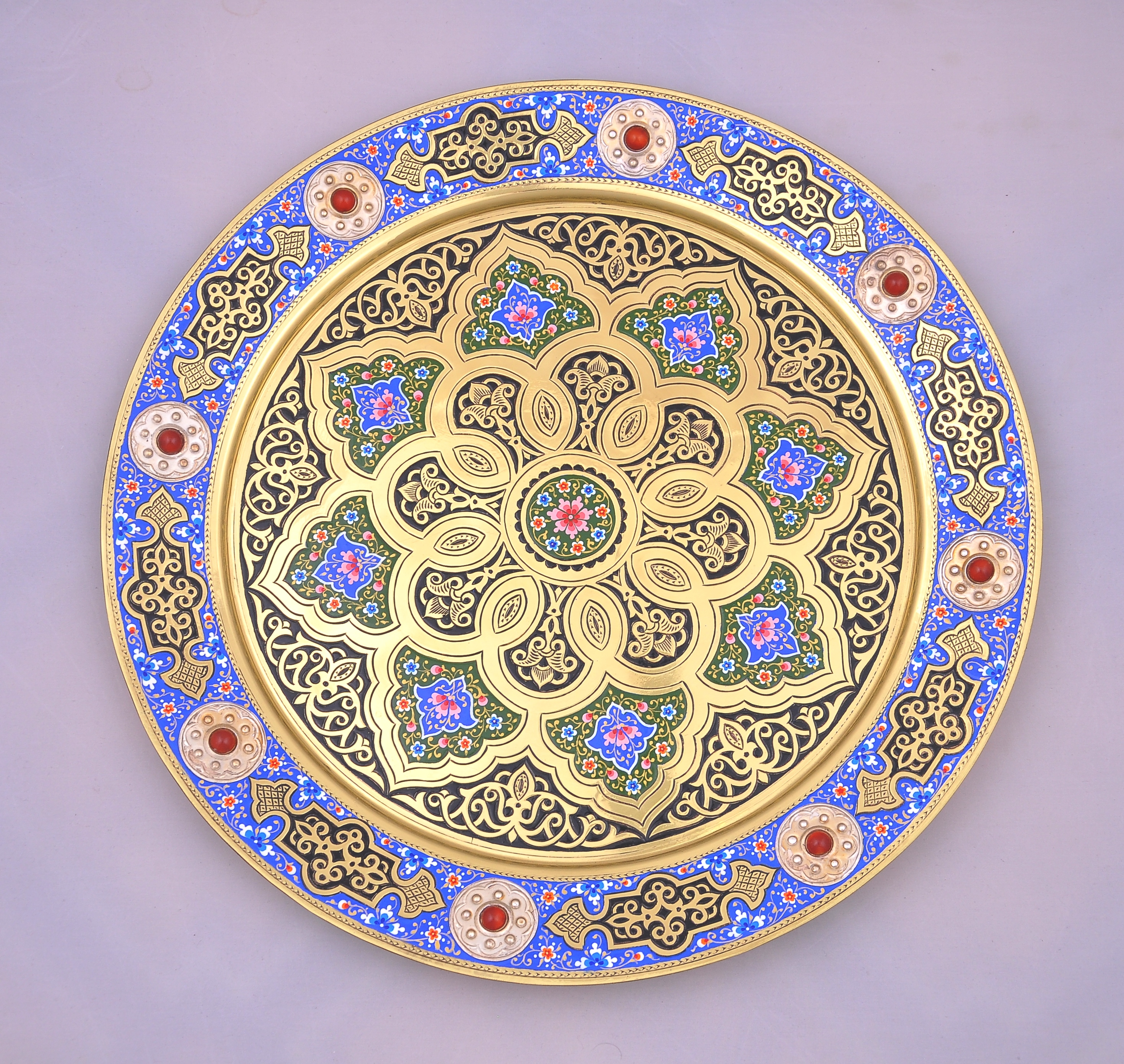 Islamic Art Persian Brass round tray | Alesouk Grand Bazaar