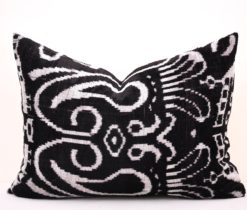 Black White Velvet Ikat Pillow, black and white velvet ikat pillow