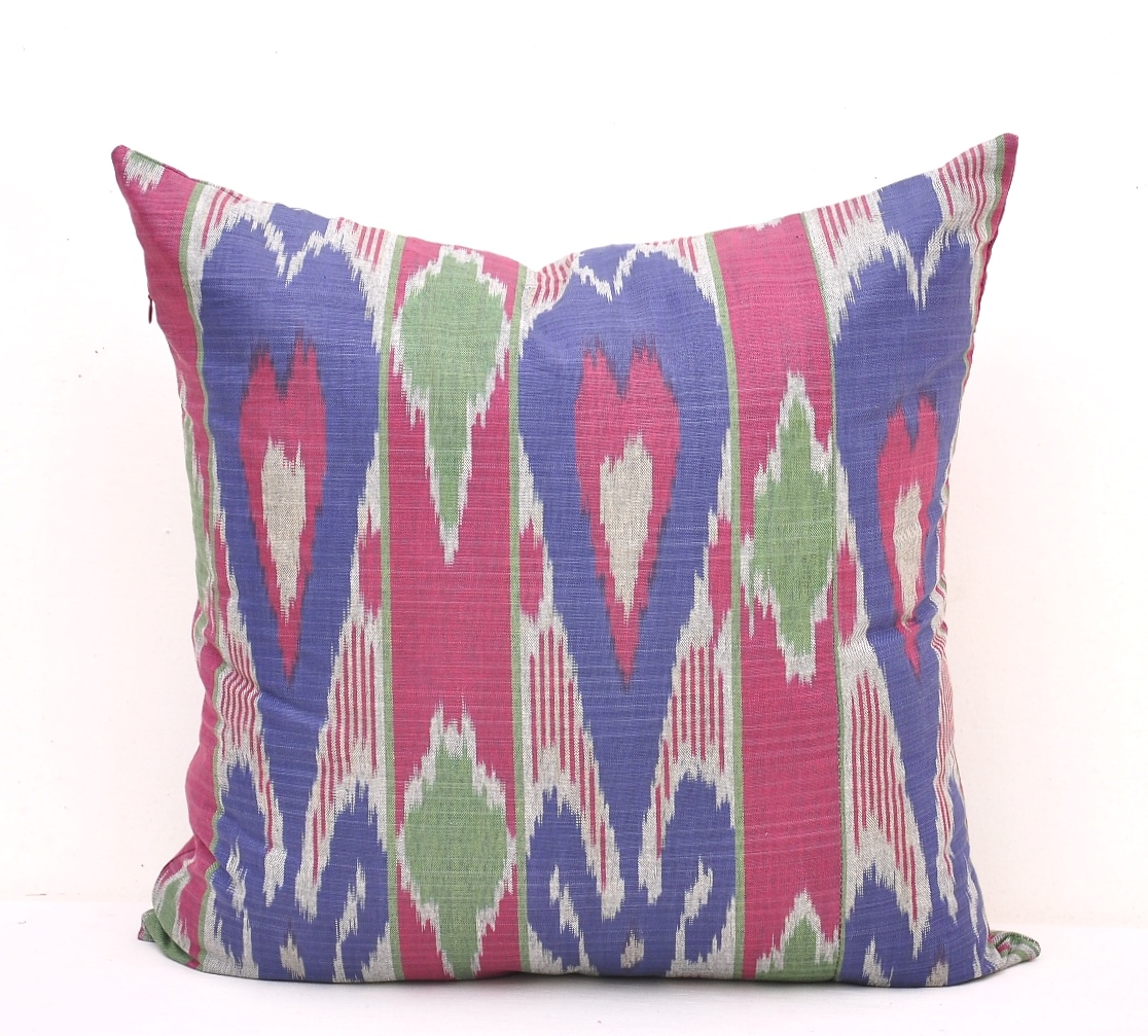 How To Wash Throw Pillow Covers : Lovely Cotton Ikat Pillow Cover - Ikat Cushion Cover