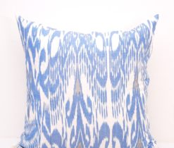 blue designer ikat throw pillow cover