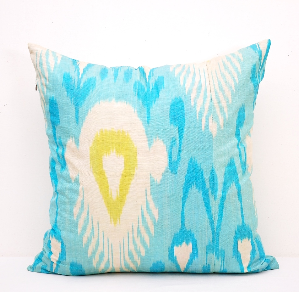Light Blue Silk Throw Pillow : Light Blue Silk Ikat Throw Pillow Alesouk Grand Bazaar