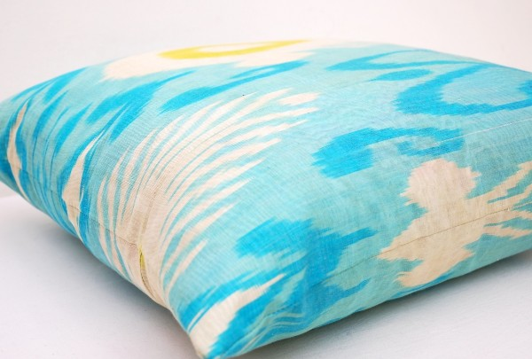 Light Blue Silk Throw Pillow : Light Blue Silk Ikat Throw Pillow