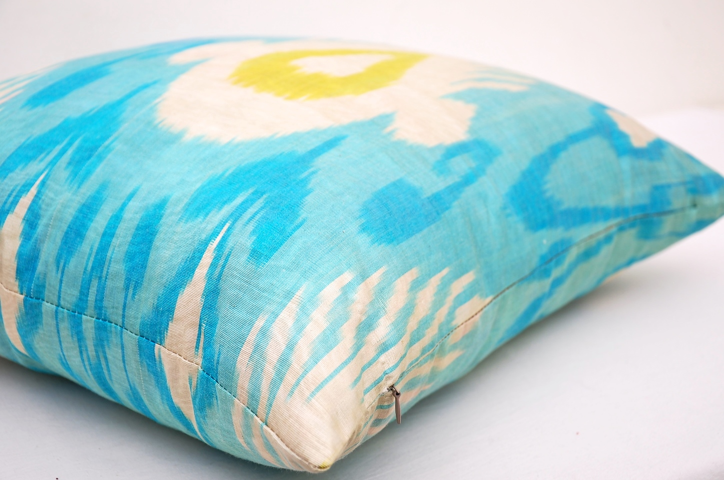 Light Blue Silk Throw Pillow : Light Blue Silk Ikat Throw Pillow - Alesouk Grand Bazaar online shopping