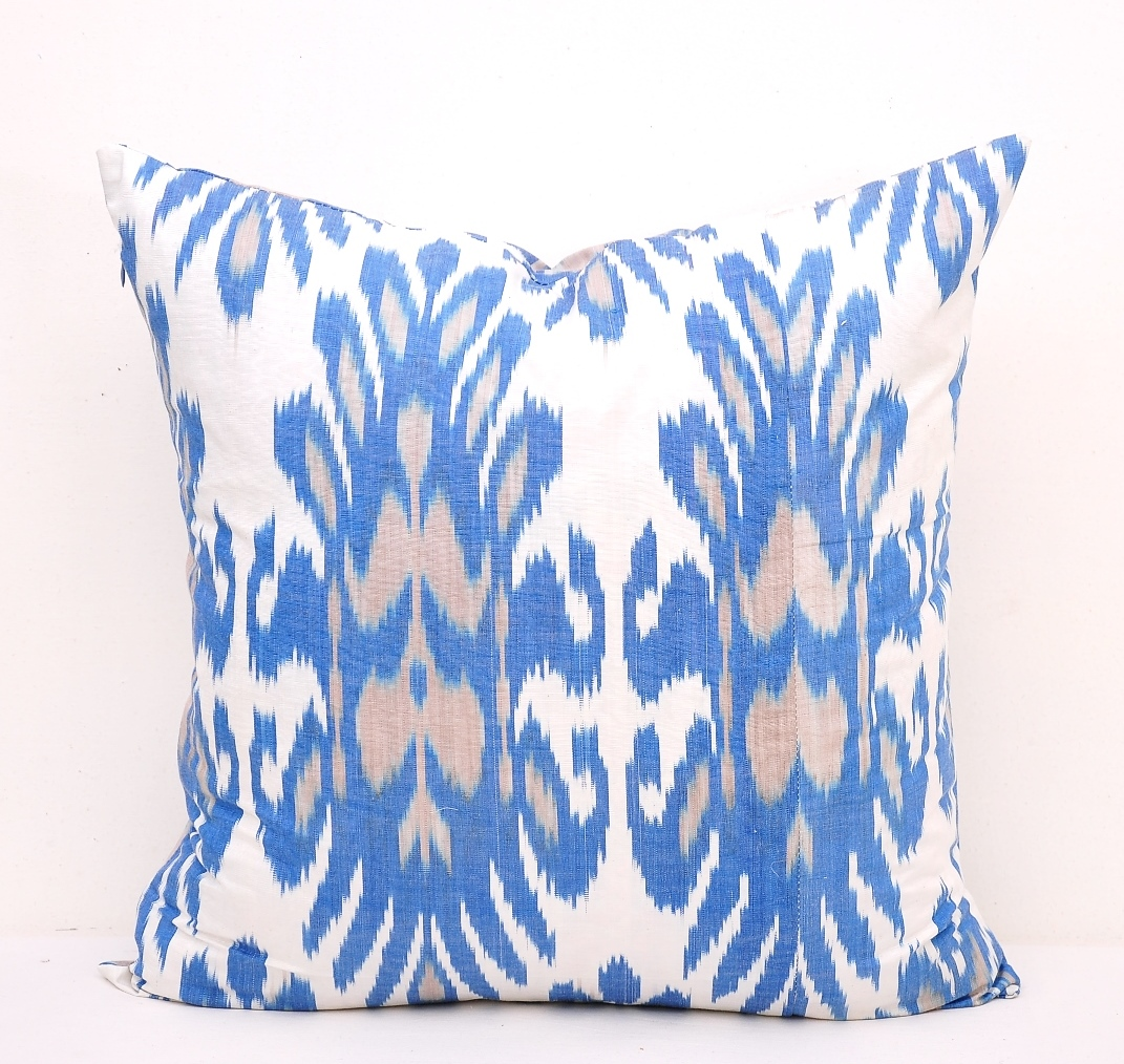 Sky Blue Indoor Outdoor Ikat Pillow - Pottery Barn Style Pillow Cover