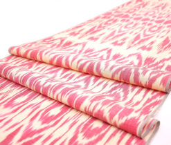 red silk ikat fabric designer