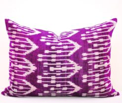 Wholesale Direct Ikat Cushion Cover , purple velvet cushion, Purple silk velvet pillow