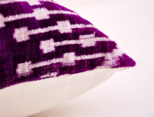 purple ikat cushion