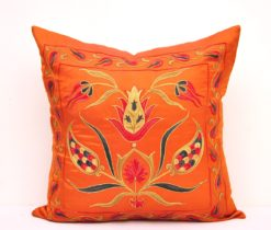 orange pillow suzani, Oriental Silk Embroidery Suzani Pillow Cover
