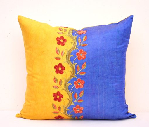Yellow Navy Gorgeous Suzani Embroidery Pillow