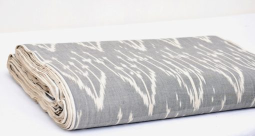 Grey Cotton Ikat Fabric By The Yard