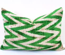 Green Chevron Velvet Ikat Pillow Cover