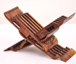 Book holder Laukh 5 folder system, book stand carved wood