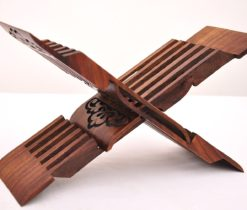 X-shaped Foldable Book Rest Holder, quran holder wood, Uzbek Carved Wood Book Easel Stand