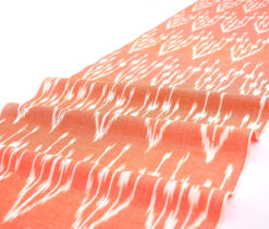 Orange Cotton Ikat Fabric By The Yard