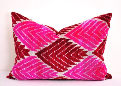 Pink Handwoven Silk Designer Pillow