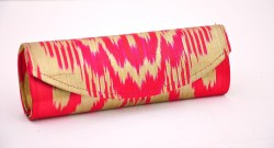 Silk cotton blend ikat clutch