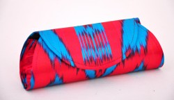 Red blue ikat clutch
