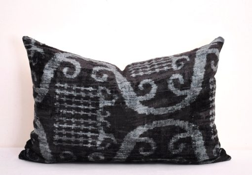 Black overdyed luxury velvet chair cushion, Black luxury velvet designer throw