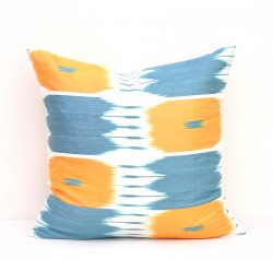 blue yellow ikat pillow