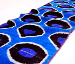 Blue Ikat fabric Silk Velvet, Blue ikat silk fabric