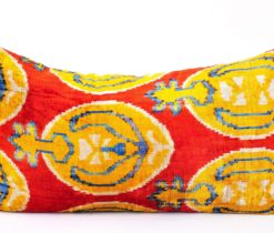 Red Velvet Silk Ikat Pillow