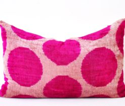 Pink Throw Ikat Designer Velvet Cushion, pink velvet throw pillow