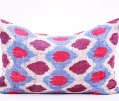Blue Decorative Velvet Ikat Throw Pillow, Blue Velvet Silk Ikat Pillow Cover