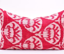 red velvet pillow cover, Red White Designer Ikat Velvet Throw Pillow