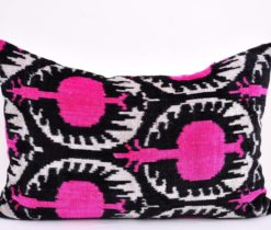 pink ikat pillow, Pink pomegranate retro style velvet pillow