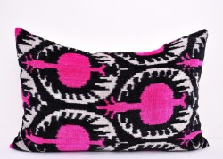 pink ikat pillow